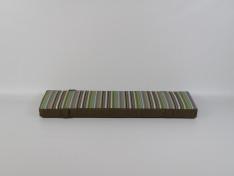 Zitkussen strak 127x36x8 Kunstleer Dakota Marrone/Stripes Confetti Green met banden
